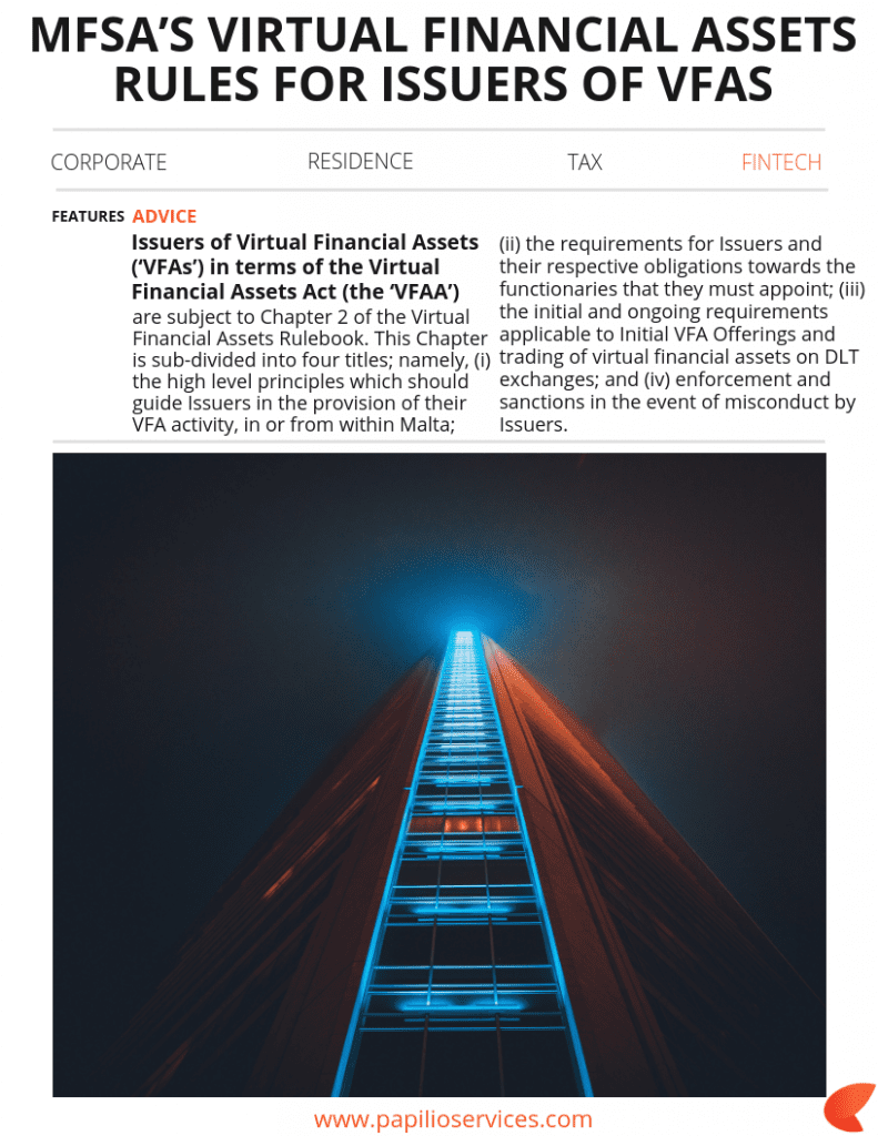 MFSA's Virtual Financial Assets rules for issuers of VFAs | Papilio Services Limited